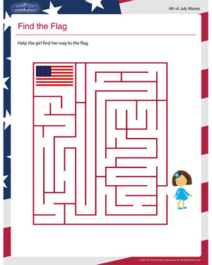 Punchy image inside flag day printable activities