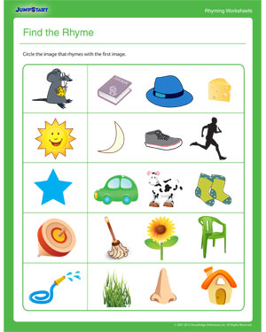 math worksheet : find the rhyme  rhyming worksheet for kindergarten  jumpstart : Rhyming Words Worksheet For Kindergarten