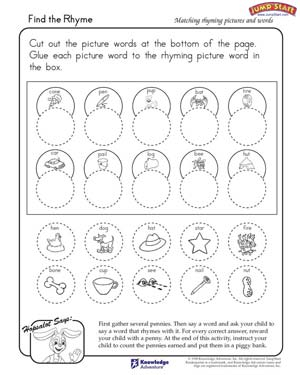 math worksheet : find the rhyme  free english worksheet for kindergarten  jumpstart : Kindergarten English Worksheets Free