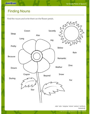 finding nouns 1st grade grammar worksheet kids jumpstart. Black Bedroom Furniture Sets. Home Design Ideas