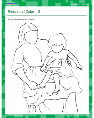 Finish and Color 2 - Print this Fun Coloring Activity for your 7 year old!