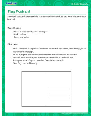 Flag Postcard - Classroom activity on geography for kids