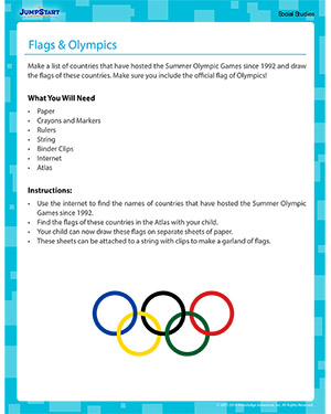 Flags and Olympics - Social Studies activity for kids