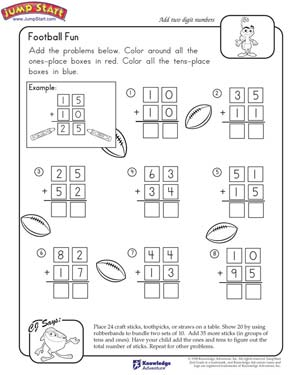 math worksheet : football fun  2nd grade math worksheets  jumpstart : 2nd Math Worksheets