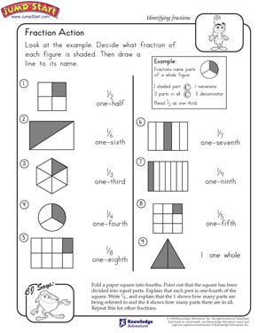 math worksheet : fraction action  2nd grade math worksheets  jumpstart : Free Printable Fraction Worksheets For 5th Grade
