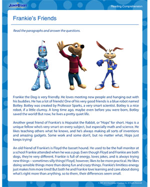 Frankie's Friends - Reading & Comprehension Worksheet