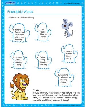 Friendship Words - Free educational printable for 2nd grade kids