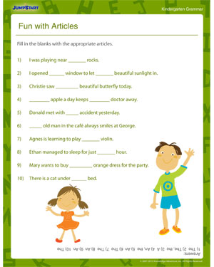 Printables Grammar Worksheets For Kids fun with articles printable grammar worksheets for kindergarten english worksheet