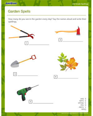 math worksheet : garden spells  download free and educative spellings worksheets  : Spelling Worksheet For Kindergarten