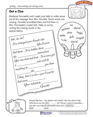 Get a Clue - Free English Worksheet for 4th Grade