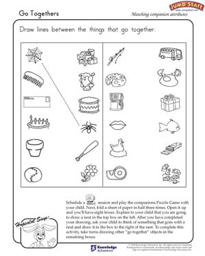 Go Togethers - Free Critical Thinking Worksheet for Kindergarten