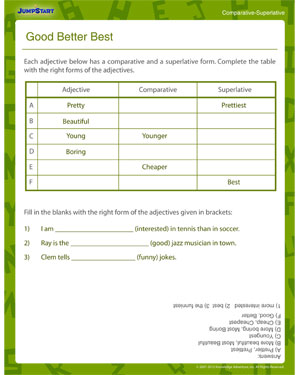 Good Better Best – 3rd Grade Grammar Worksheet – JumpStart