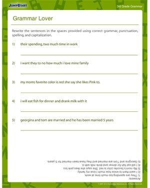 Grammar Lover - Elementary English Worksheet