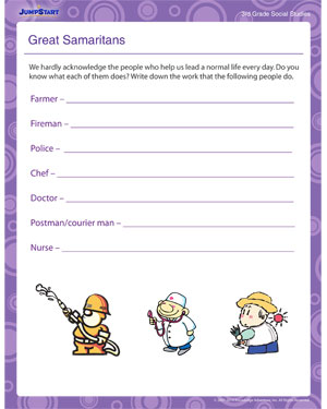 great samaritans social studies worksheet for kids jumpstart. Black Bedroom Furniture Sets. Home Design Ideas