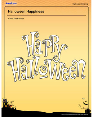 Halloween Happiness- Free Halloween Coloring Page for Kids