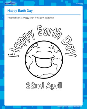 Happy Earth Day! - Free Earth Day Coloring Worksheet for Kids