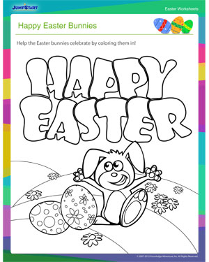 Happy Easter Bunnies – Printable Coloring Worksheet for Easter ...