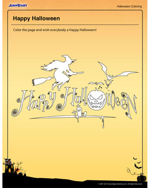 Happy Halloween- Free Halloween Coloring Page for Kids
