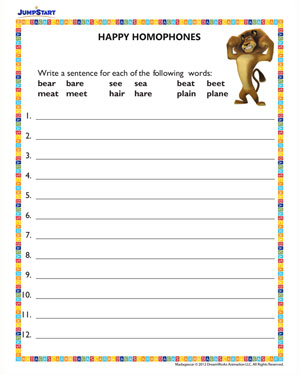 Happy Homonyms - Free, Printable English Worksheet for Kids