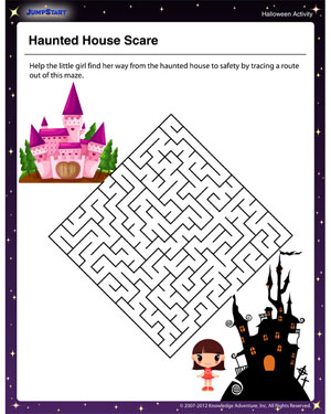 Haunted House Scare - Free Printable Maze for Kids
