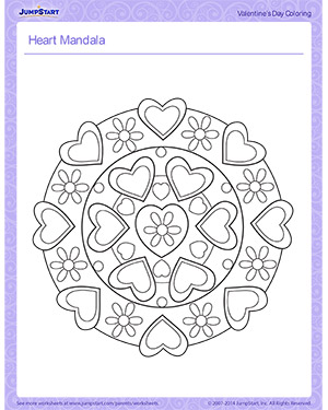 Heart Mandala - Printable Children's Coloring Page for Valentine's Day
