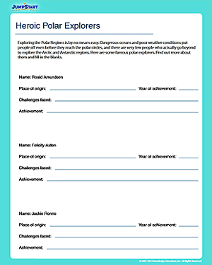 Heroic Polar Explorers – Geography Worksheet for Grade 5