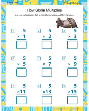 How Gloria Multiplies - Free Printable Multiplication Worksheet for 2nd Grade