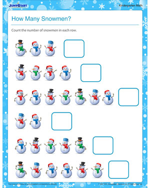 How Many Snowmen – Math Printable to Teach Addition – JumpStart