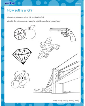 math worksheet : how soft is a g  printable grade 1 phonics worksheet  jumpstart : G Worksheets For Kindergarten