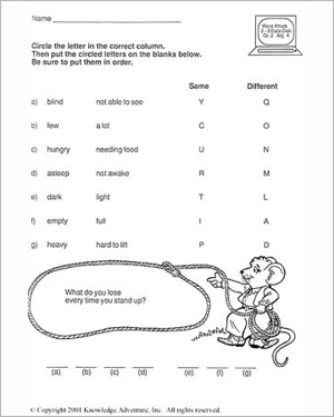 Hungry for More: Riddle Time - Language Arts Worksheet for 2nd Grade