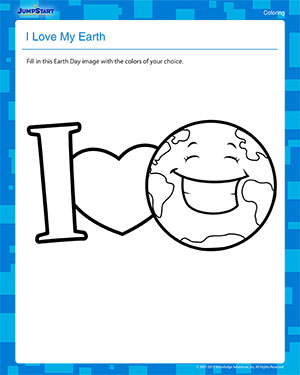 I Love My Earth - Free Earth Day Coloring Worksheet for Kids