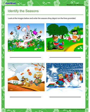 math worksheet : identify the seasons  fun seasons worksheet for 1st grade  jumpstart : Seasons Worksheets Kindergarten