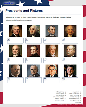 math worksheet : identify these presidents  free presidents day worksheets  jumpstart : Presidents Day Kindergarten Worksheets