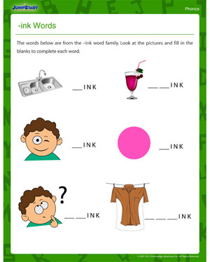 INK Words - Printable Phonics Worksheet for First Grade
