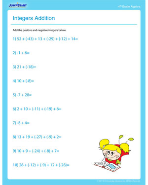 math worksheet : integers addition  free algebra worksheet for 4th grade  jumpstart : Integer Math Worksheets For Grade 7