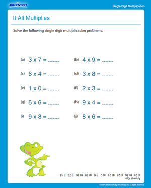 math worksheet : it all multiplies  free multiplication worksheet for grade 3  : Multiplication Worksheet For Grade 1