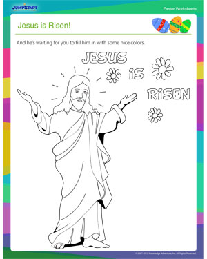 Did you see 'Jesus is Risen?'- JumpStart's Free Easter Coloring Worksheet Online