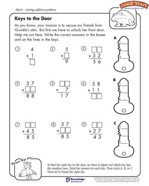 Keys to the Door - Math Worksheets for 4th Grade - JumpStart