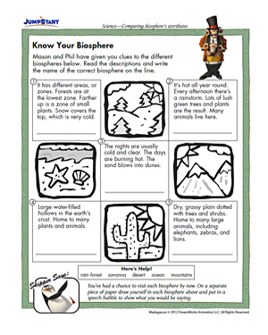 Know Your Biosphere - Free 3rd Grade Science Worksheet - JumpStart