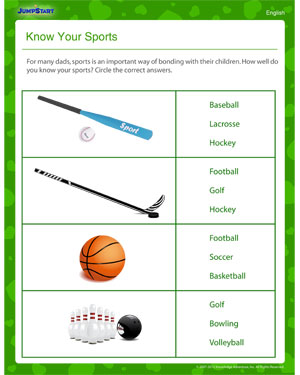Know Your Sports on worksheets fishing out