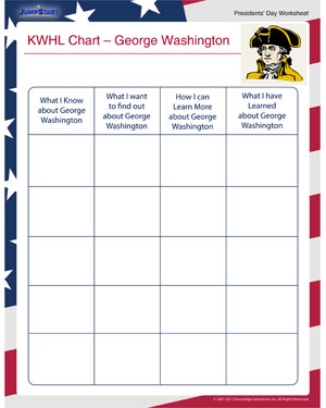 KWHL Chart - George Washington - Fun Online Presidents' Day Worksheet for Kids