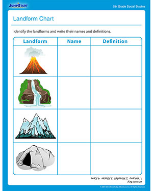 Worksheet Worksheets On Landforms landform chart free social studies printable worksheet for fifth chart