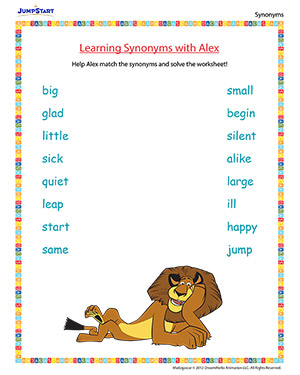 Worksheet Jump Synonym learning synonyms with alex english worksheet on madagascar movie based for kids