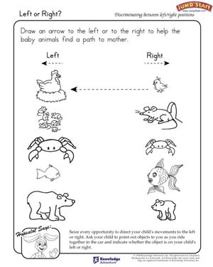 Left or Right? - Free Critical Thinking Worksheet for Kindergarten