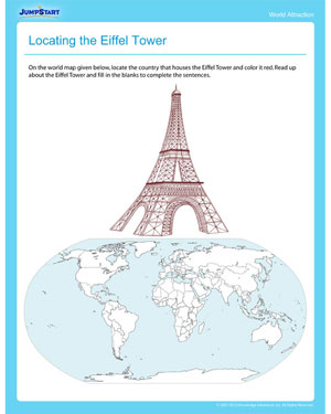 Locating the Eiffel Tower - Geography printable for Grade 4