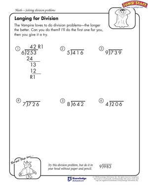 Longing for Division - Free Division Worksheet for Kids