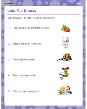 Looks Can Deceive - Free Printable Reading Worksheet for Kids