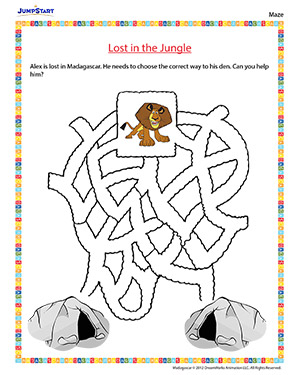 Lost in the Jungle - 'Madagascar' movie based worksheet for kids
