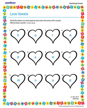 math worksheet : love vowels  free vowels worksheet for kindergarten  jumpstart : English Worksheets For Kindergarten