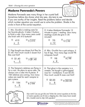 Madame Pomreeda's Powers - Free Math Worksheet for Kids